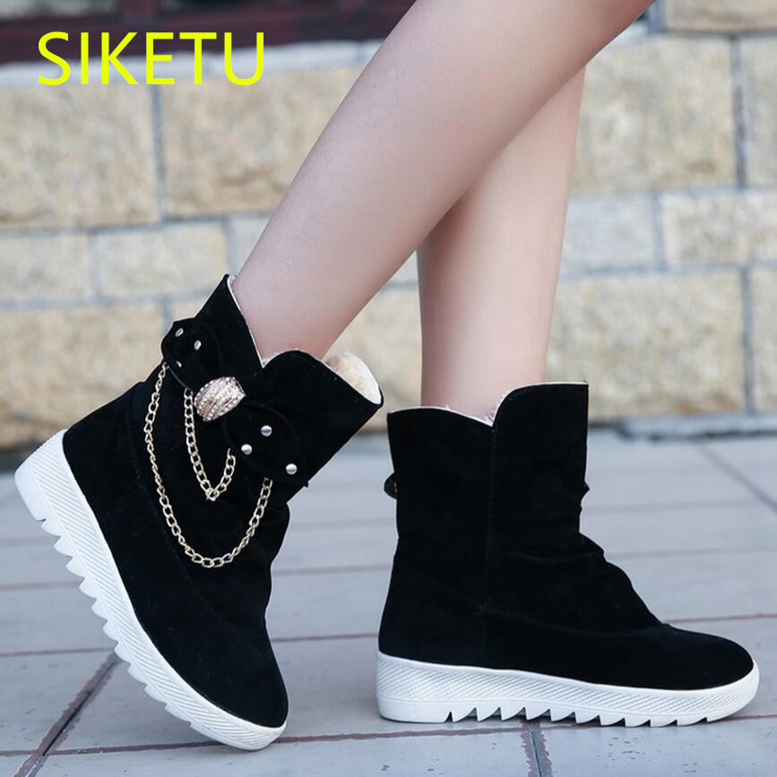 SIKETU women boots Free shipping 2017 Autumn and winter Knee riding boots fashion Snow Martin boots casual shoes Bow tie m051