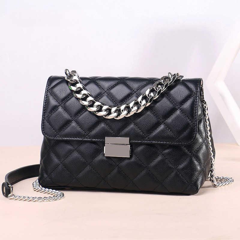 a19517a49 100%Genuine leather Woman Shoulder bags Casual Luxury Handbags Women Bags  Designer Chain Soft Crossbody