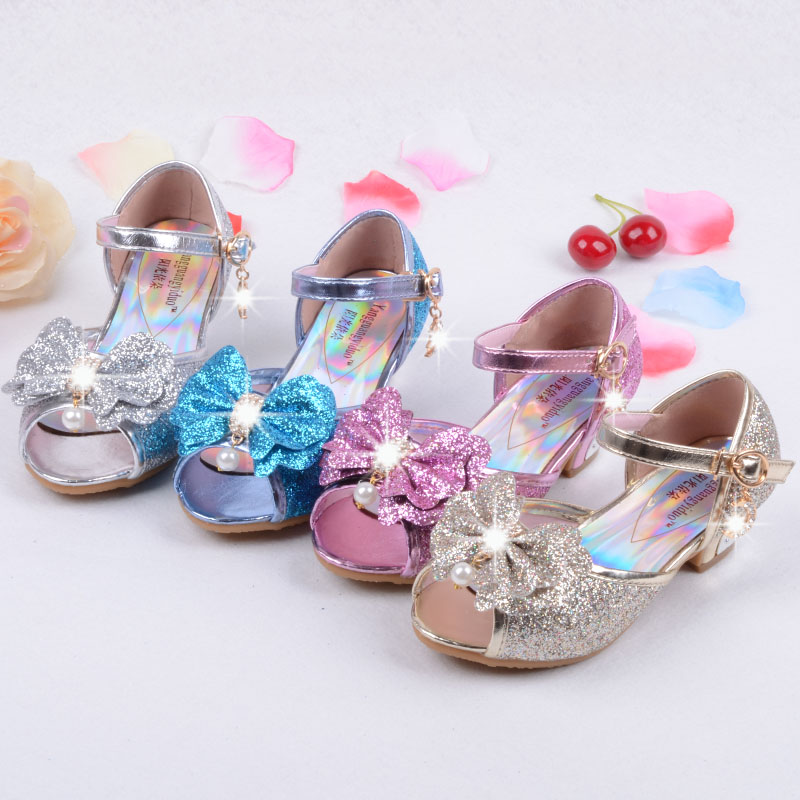 6de6ebf4be US $19.09 8% OFF|Sequin Glitter Children Elsa Shoes Girls High Heels Pumps  Kids Snow Queen Party Beading Dance Shoes For Girls Sandals With Bow-in ...