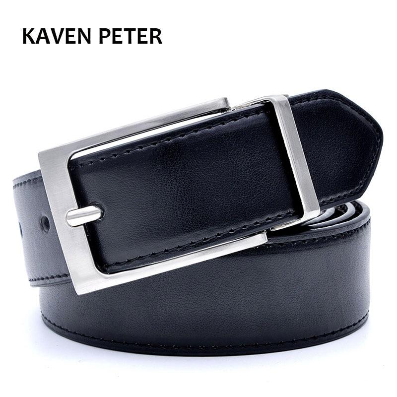 Mens Belt Formal Leather Reversible Buckle Belts Mens Leather Handmade Belt Hot Fashion Cowhide Leather Male Belt Black Color