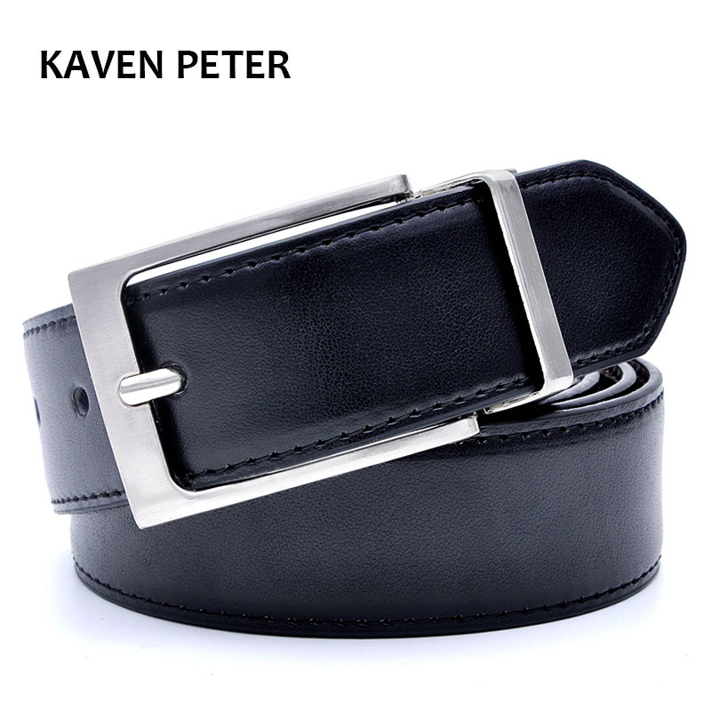Mens   Belt   Formal Leather Reversible Buckle   Belts   Mens Leather Handmade   Belt   Hot Fashion Cowhide Leather Male   Belt   Black Color