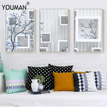 Modern Art Frameless 3 PieceS Poster Canvas Unframed Decorations Nail Prints Wallpaper Posters Painting Living Room