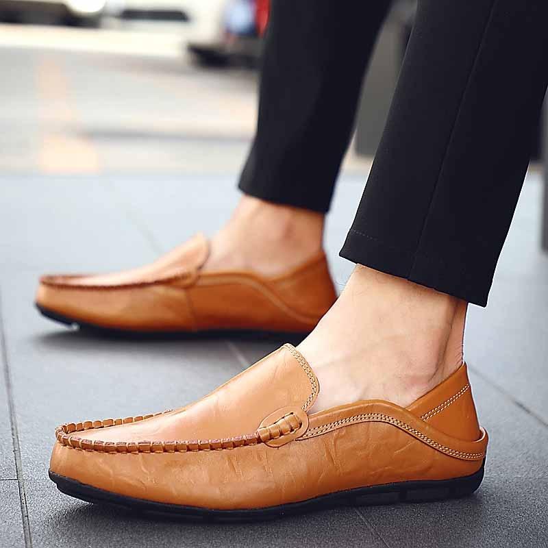 bleu Mocassins Bateau Hommes Slip Cuir Chaussures Chaussure Homme marron Plat Mocassin Sur Designer Véritable En Mâle Masorini Classique Ww 382 Noir H4Aw1q4