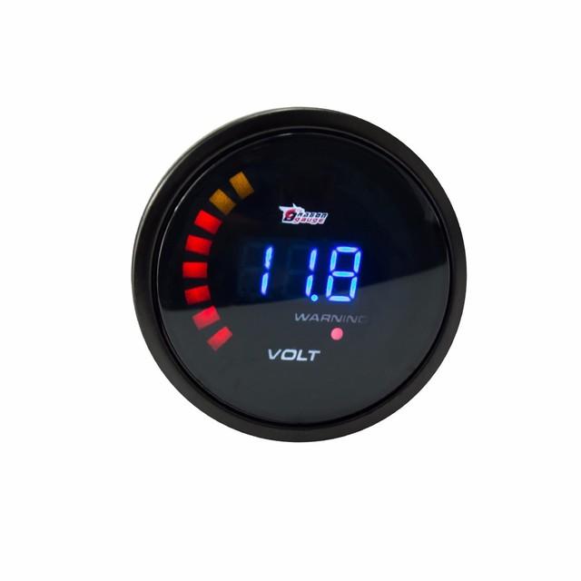 Envío gratis 2 pulgadas 52mm 12 V Digital Car Voltímetro Voltios Gauge metro 20 LED Blanco 8-16 V Digita Voltímetro Voltios Gauge Meter Auto