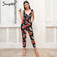 Simplee Cross V Neck Boho Floral Print Jumpsuit Ruffle Lace Up Sexy Jumpsuit Women Backless Elegant