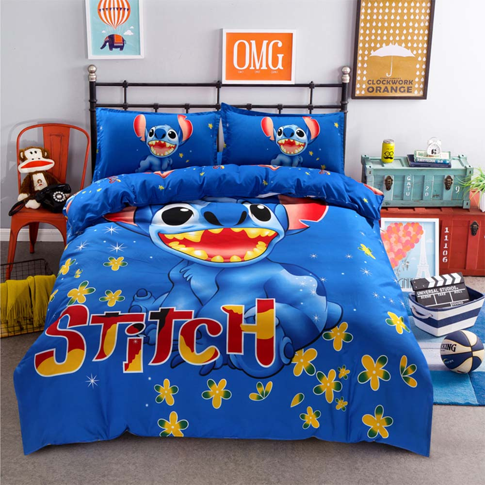 Disney Cartoon Stitch Bedding Set 100% Polyester Bed Linen For Adulit/kids Gift Duvet Cover Set Print Cartoon Linens Pillowcase