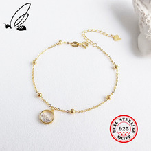 цены Water Drop Bracelets For Women 925 Sterling Silver Gold Color Bead Chain Jewelry Charms Adjustable Pulseras Boho Bijoux Femme