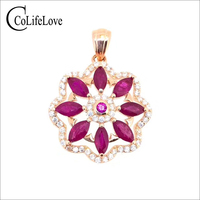 CoLie Jewelry classic 925 silver ruby pendant for wedding 8 pieces natural ruby gemstone pendant sterling silver ruby jewelry
