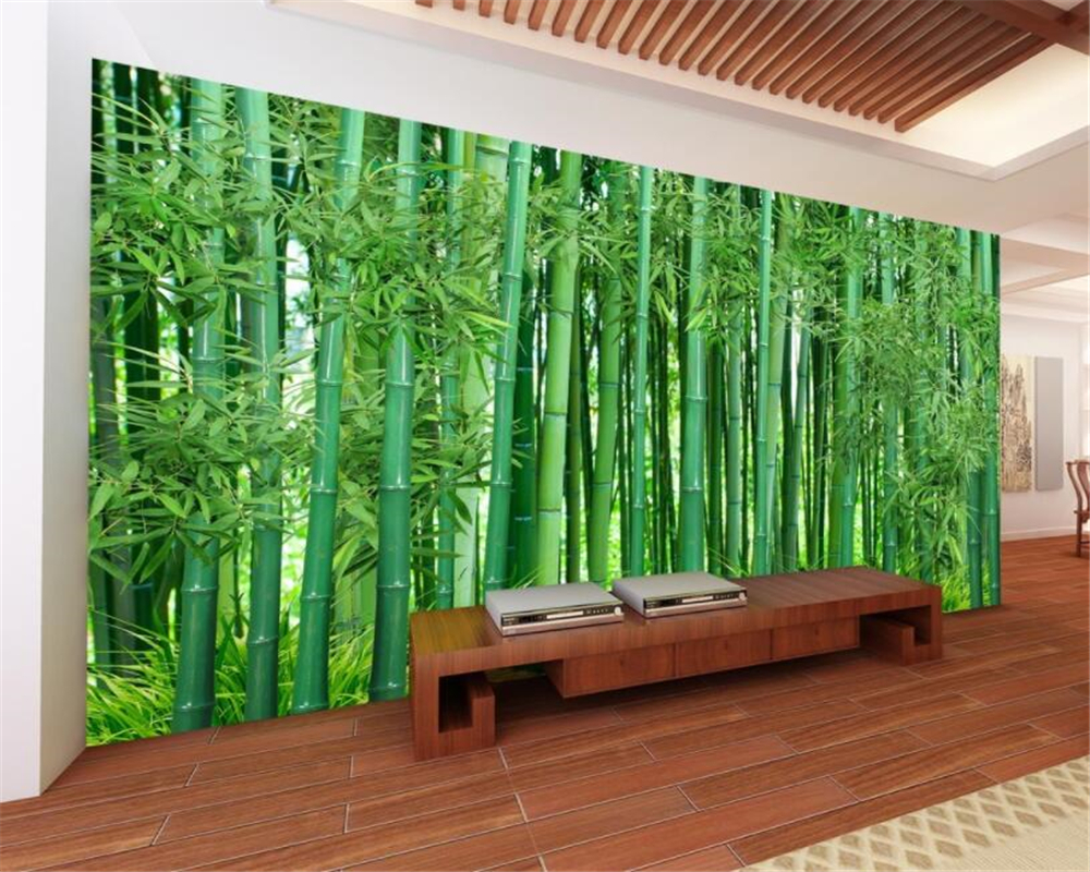 Beibehang Custom Wallpaper Mural HD Green Bamboo Landscape Living Room Sofa TV Background Wall Wallpaper For Walls 3 D Behang