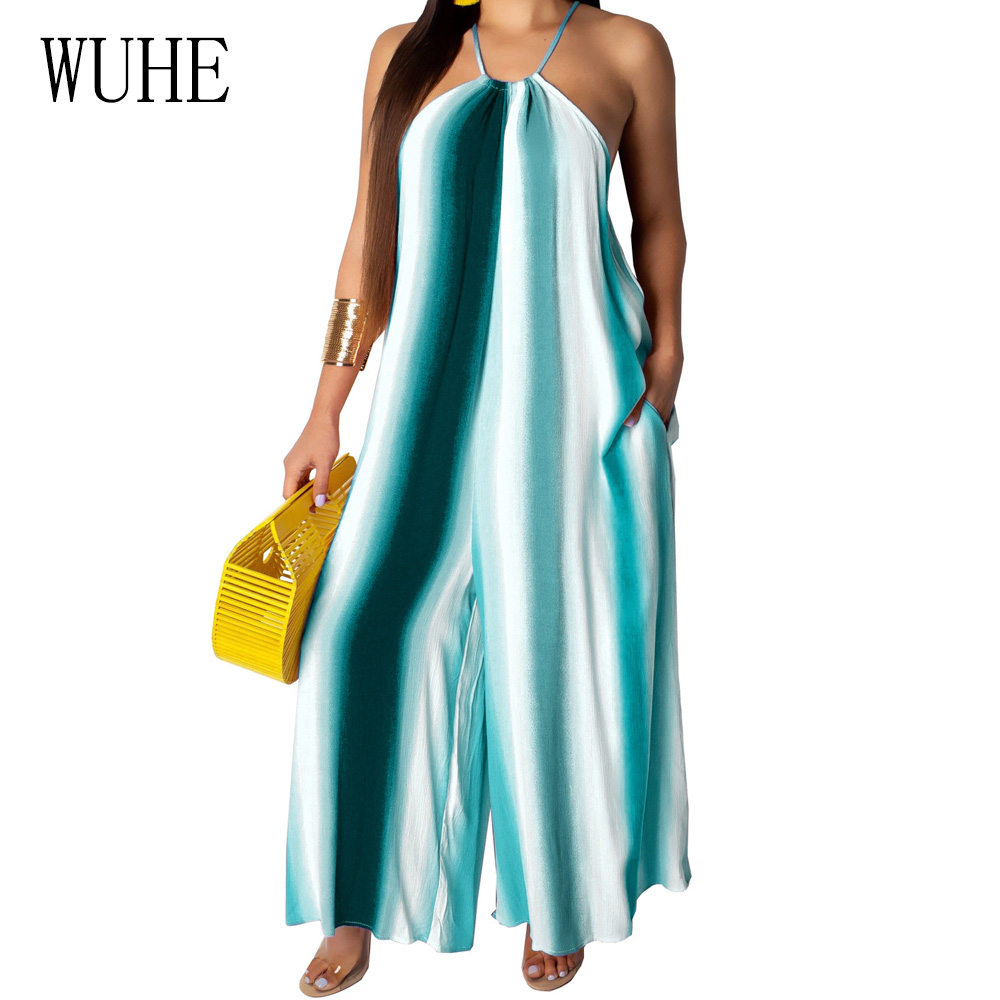 WUHE Women Jumpsuits Sexy Off Shoulder Sleeveless Halter Wide Leg Playsuits Summer Bohomian Beach Party Club Casual Loose Romper in Jumpsuits from Women 39 s Clothing