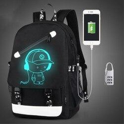 Anti Theft backpack USB charging Men Laptop Backpacks For Teenagers Female Mochila Travel backpack School bags Luminous Backpack