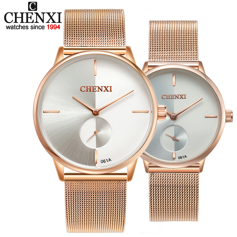 CHENXI Brand New Couple Set Fashion Wristwatches Men Handsel Lover Rose Gold Band Women Dress Watches Ladies Quartz Watch Gift