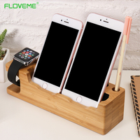 FLOVEME Hot Genuine Legno Charging Dock Supporto Del Telefono Basamento Del Telefono Mobile supporto Per iPhone 7 6 6 S Più 5 s SE iWatch Scrivania Stand