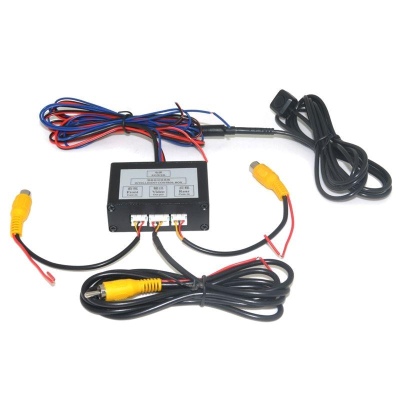 Cámara de aparcamiento del coche convertidor de canal de vídeo interruptor automático frontal/vista lateral/Vista trasera cámara de visión trasera caja de Control de vídeo con Manua