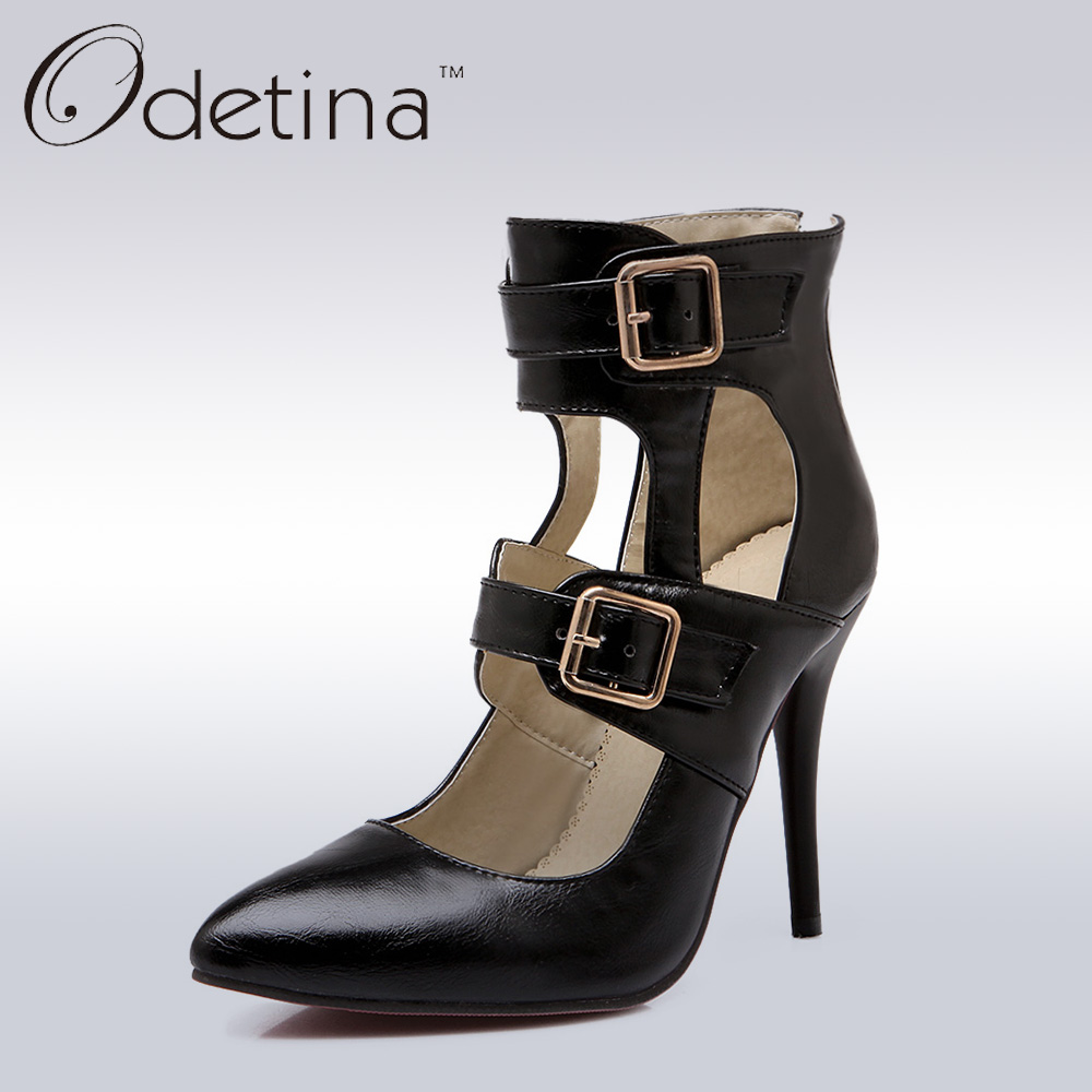 ФОТО Odetina 2017 New Designer Women Extreme High Heel Punk Summer Boots with Buckles Sexy Black Women Pointed Toe Thin Heel Pumps
