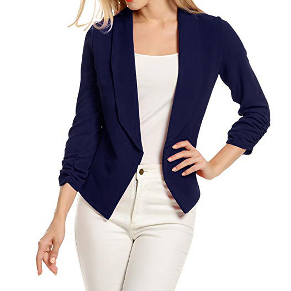 JAYCOSIN Coats Women Fashion Solid 3/4 Sleeve Blazers Open Front Short Cardigan Suit Work Office Coat Autumn Hot Sale 20190319(China)