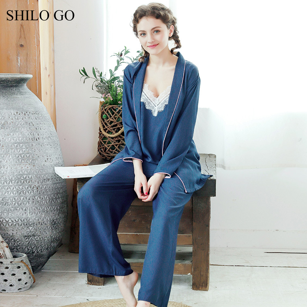 Elegant Satin Lace top Strap Pajamas Women 2018 Summer Sexy Dark Blue long Sleeve PJ High Waist Pants Home Suit Female