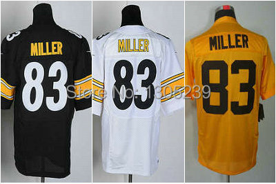 timeless design 30814 4aa06 US $27.95 |Pitt Heath Miller Jersey American Football #83 Yellow Black  White Man Size 40 56 Stitched On Tees Embroidery Logo Sewn On-in America ...