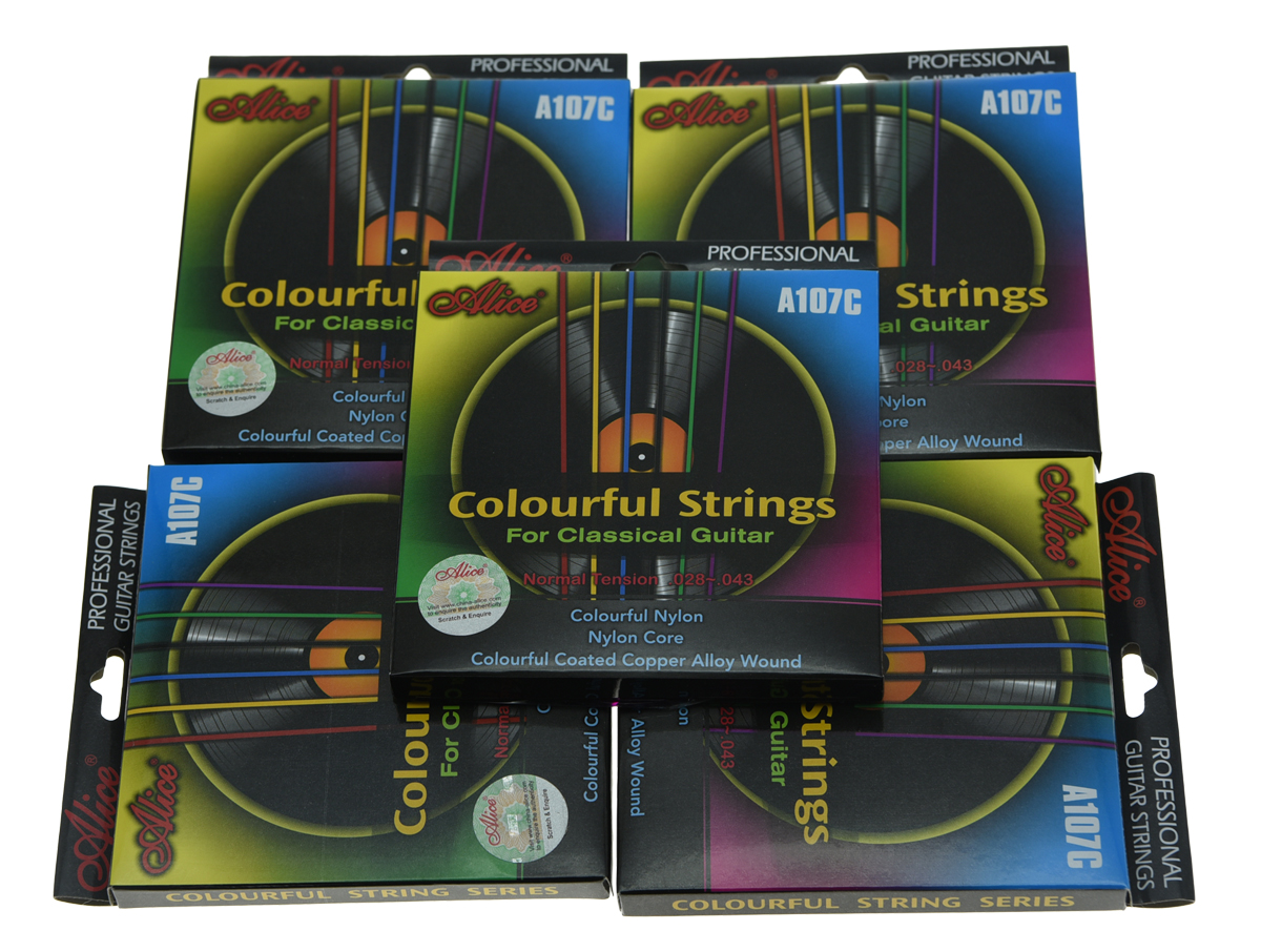 5 Sets Alice Colorful Nylon Classical Guitar String Normal Tension Nylon Coated Copper Alloy Wound classical guitar strings set cgn10 classic nylon silver plated normal tension 028 045 classical guitar strings 6strings set