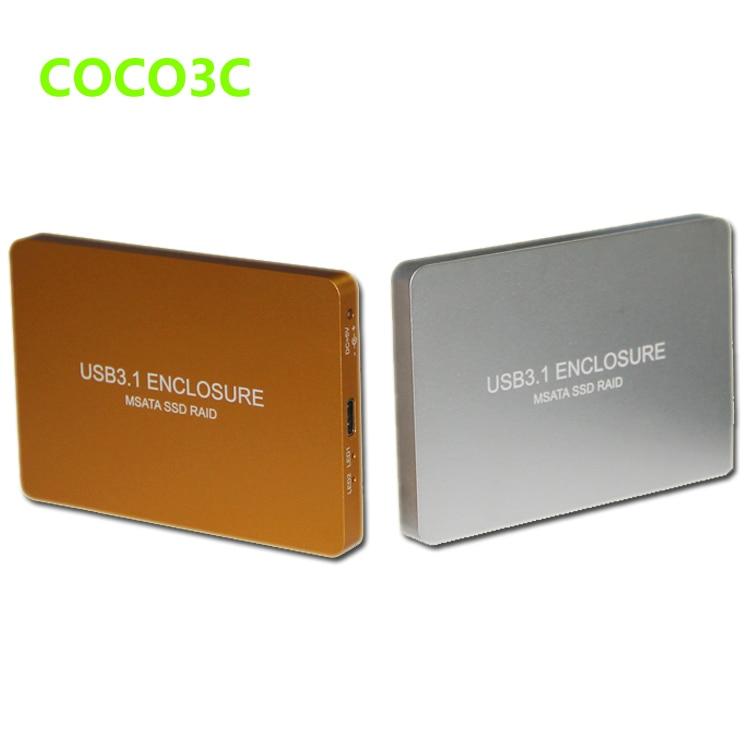 Free Shipping USB3.1 Type-C to 2 MSATA SSD RAID Enclosure USB-C to Dual mini SATA adapter mSATA SSD External Box + RAID0 RAID1 dual msata raid to 22pin sata adapter 2 5 inch sata 3 0 enclosure usb3 0 to 2 msata sata 3 raid 0 1 free shipping