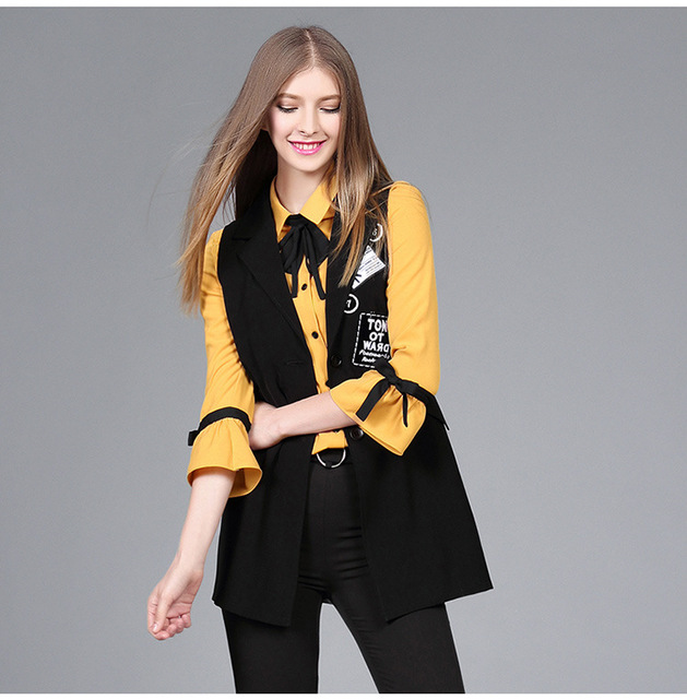 2017 Spring New Arrival Fashion Women's Medium-Long Outerwear Black Waistcoat Women's Vest Plus Size XL