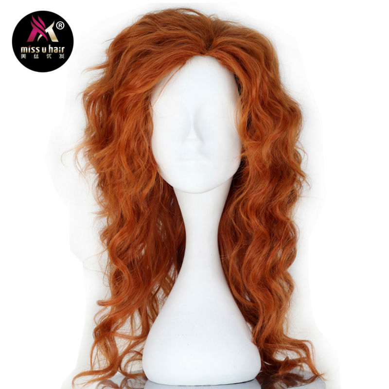 Synthetic Wigs Synthetic None-lacewigs Miss U Hair Women Fluffy Long Reddish Copper Brown Black Color Curly Hair Halloween Cosplay Costume Wig Adult