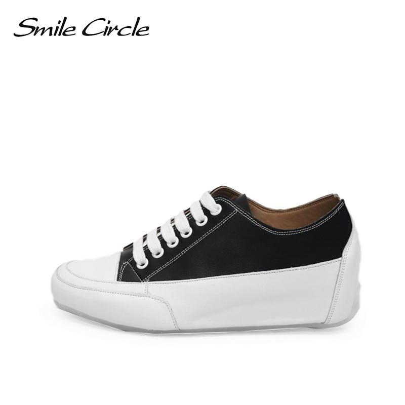 Sourire Cercle Femmes Chunky Wedge Sneakers Printemps/Automne PU En Cuir De Mode Casual Plate-Forme Chaussures Femmes sneakers noir blanc