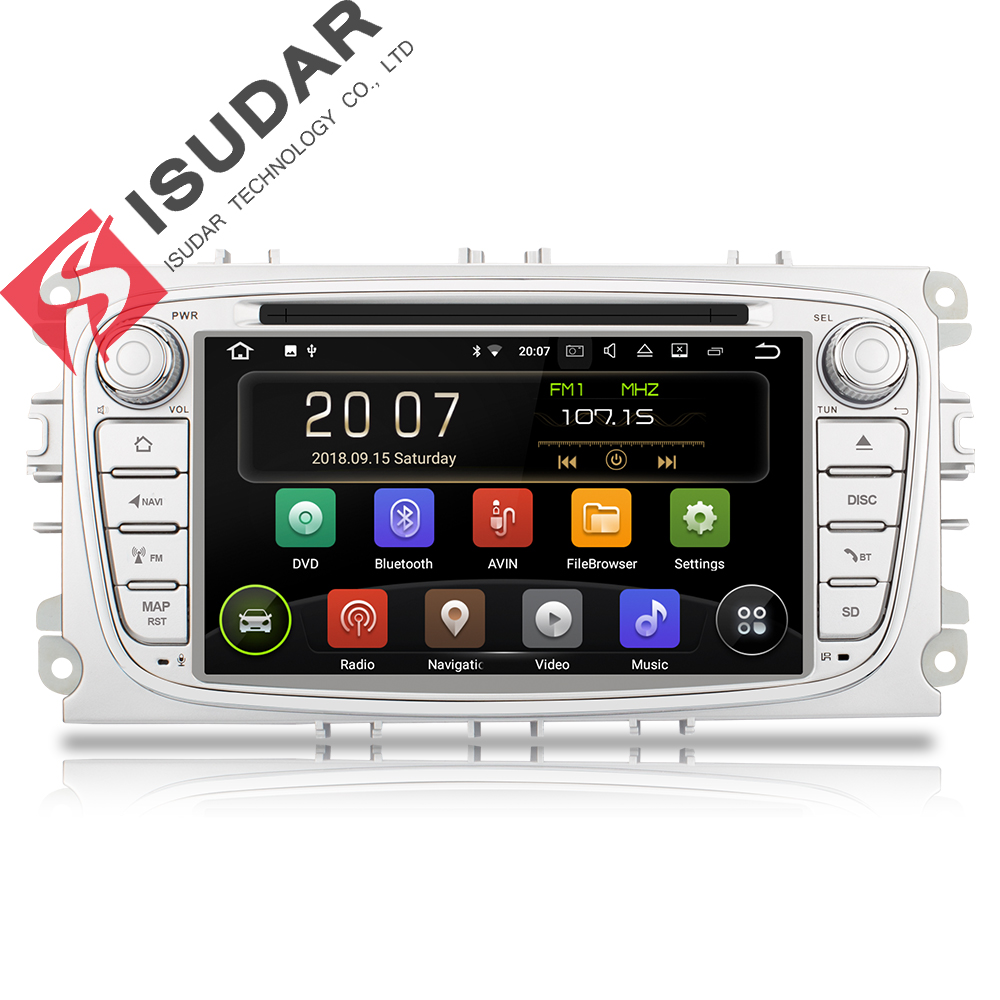 Isudar Car Multimedia Player GPS Android 8.1 2 Din DVD Automotivo Per FORD/Focus 2/S-MAX/Mondeo /C-MAX/Galaxy/Fiesta Wifi Radio