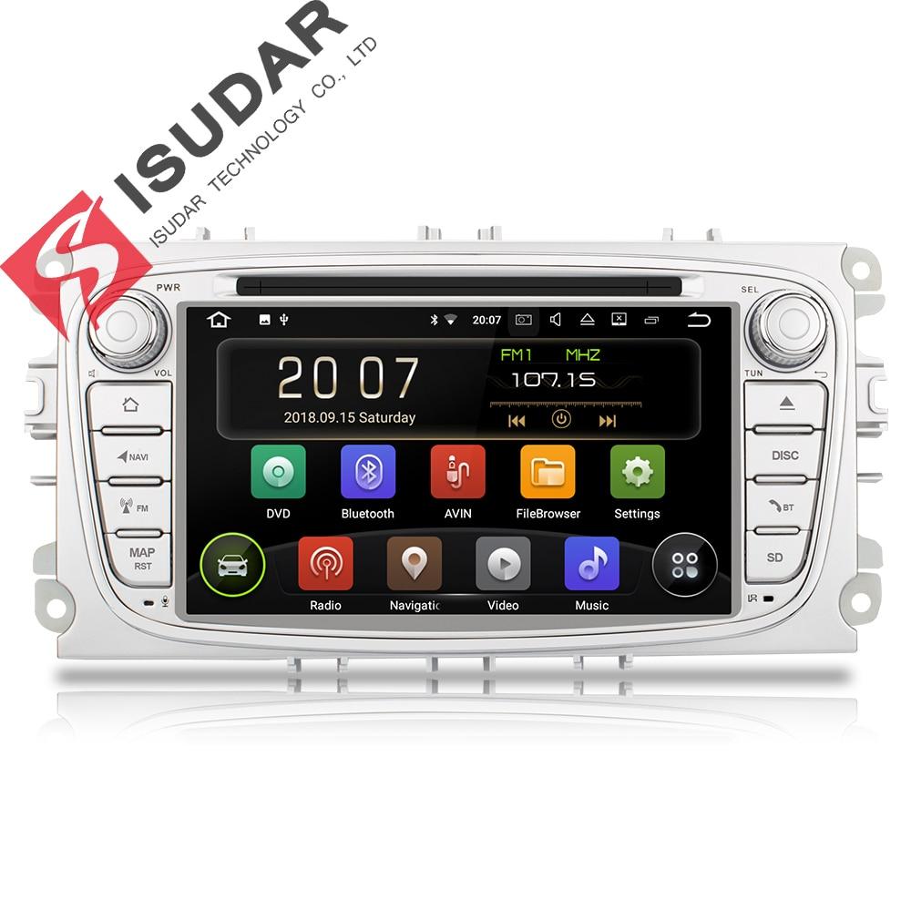 Isudar lecteur multimédia De Voiture GPS Android 8.1 2 Din DVD Automotivo Pour FORD/Focus 2/S-MAX/Mondeo/ c-MAX/Galaxy/Fiesta Wifi Radio