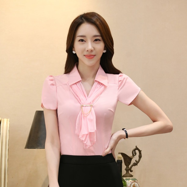 45c5b97163aee8 Summer Formal Ladies Pink Blouses Women Work Wear Blouses and Tops Short  Sleeve Shirts with Scarf Free Shipping