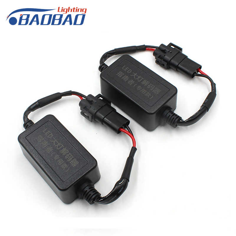 BAOBAO 2Pcs Car LED Headlight Decoder Canceller H11 Headlight Load Resistor Waterproof Canbus Decoder For Jeep Compass 2011-2015