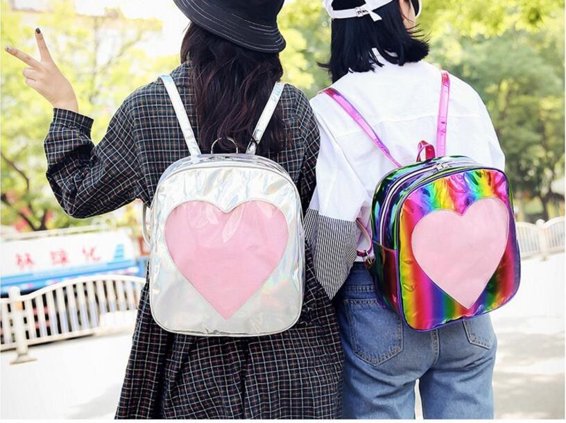 1 piece transparent heart shape PVC Silver Hologram Laser Backpack leather Holographic Backpack Multicolor schoolbag все цены