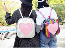 1 piece transparent heart shape PVC Silver Hologram Laser Backpack leather Holographic Multicolor schoolbag