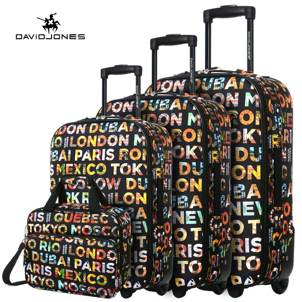 DAVIDJONES wheel travel suitcase trolley bag fixed women large luggage bag girl vintage rolling suit case box 4 piece hand trunk travel luggage bag tri glide button black 10 piece pack