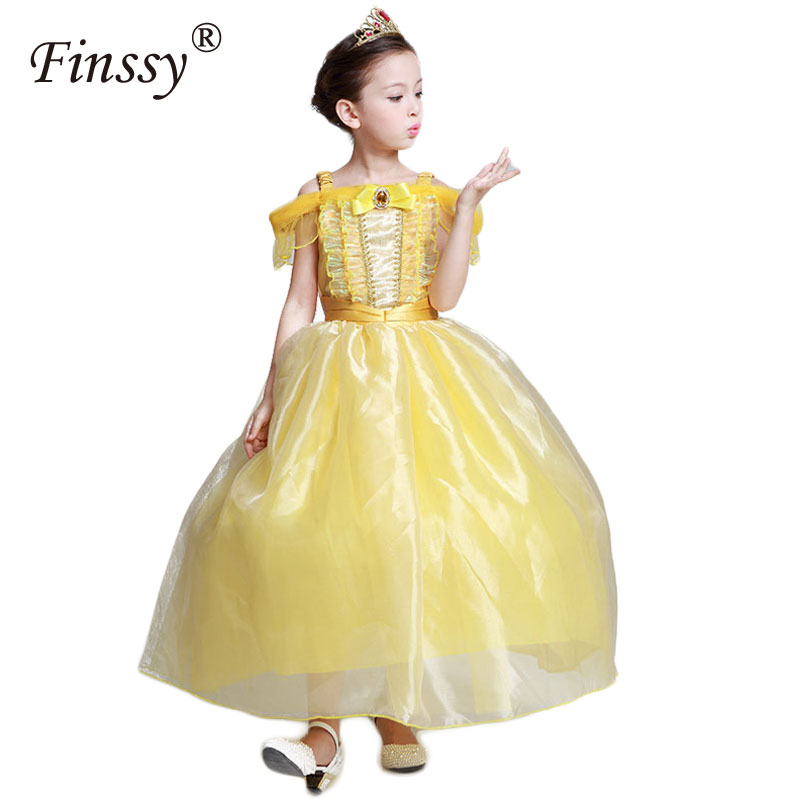 Beauty And The Beast Cosplay Costume for Girls Carnival Halloween Costume Belle Princess Dress for Kids Party Dress Yellow