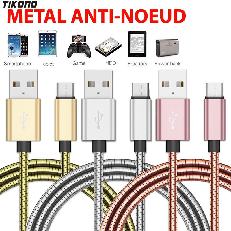 Stainless Steel Metal Fast Charging Data Sync Cable 2A Micro USB for Samsung S4 S5 S6 S7 Charging Cable Data Sync Braided Lead-in Mobile Phone Cables from Cellphones & Telecommunications on AliExpress