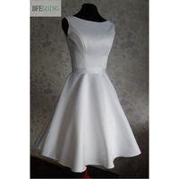 A line Strapless Knee length Satin Bridesmaid Dress with Sash Sleeveless V Neck Real/Original Photos Custom made