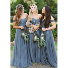 435483ec40a Dusty Grey Country Bridesmaid Dresses Sleeves Off shoulder Sweetheart Tulle  Ruched Long Cheap Bridesmaid Party Prom