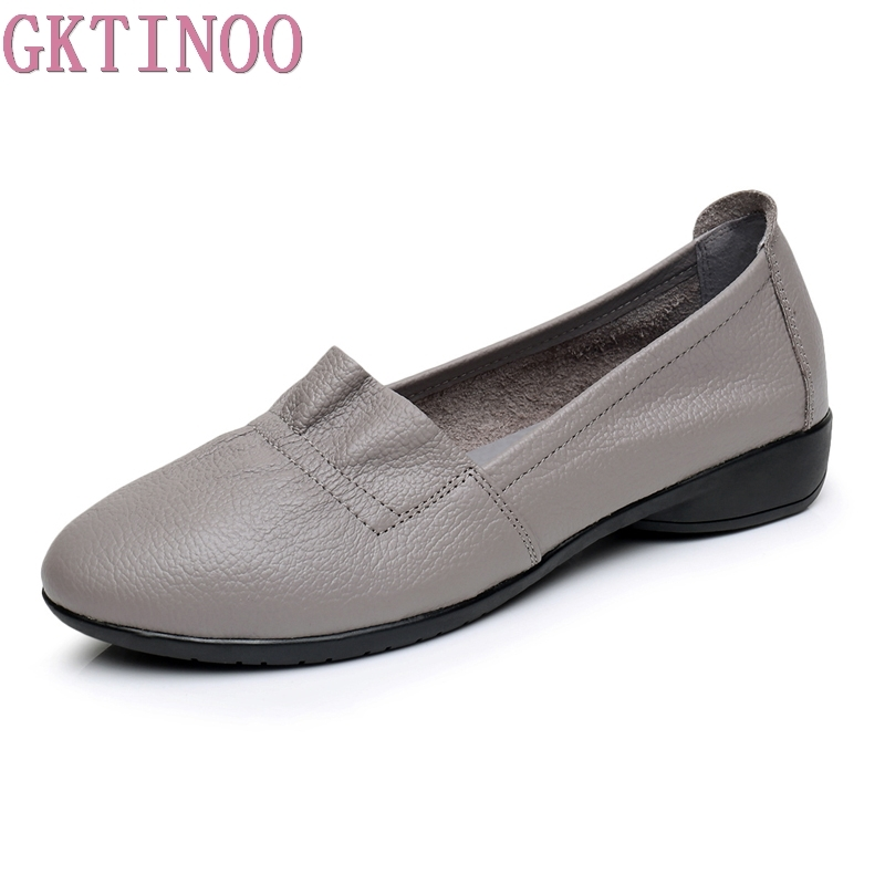 GKTINOO 2018 Genuine Leather Flat Shoes Woman Loafers Cowhide Flexible Spring Casual Shoes Women Flats Women Work Shoes Big Size original handmade autumn women genuine leather shoes cowhide loafers real skin shoes folk style ladies flat shoes for mom sapato