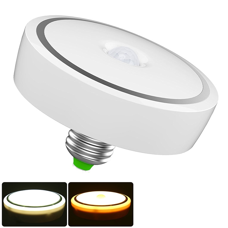 PIR LED Bulb E27 9W 12W 18W Motion Sensor Lamp Auto Switch Infrared Smart Turn On/Off LED Light Annular Shape For Ceiling Aisle