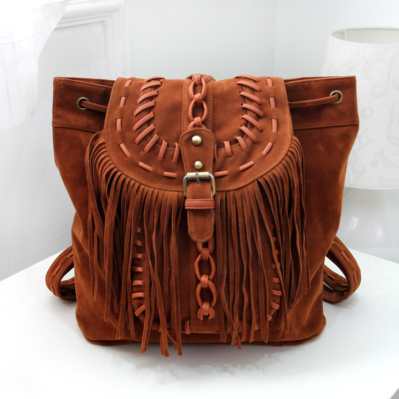 New tide package suede women Bohemian wind retro backpack PU chain men and women lovers tassel bag new tide package suede women bohemian wind retro backpack pu chain men and women lovers tassel bag
