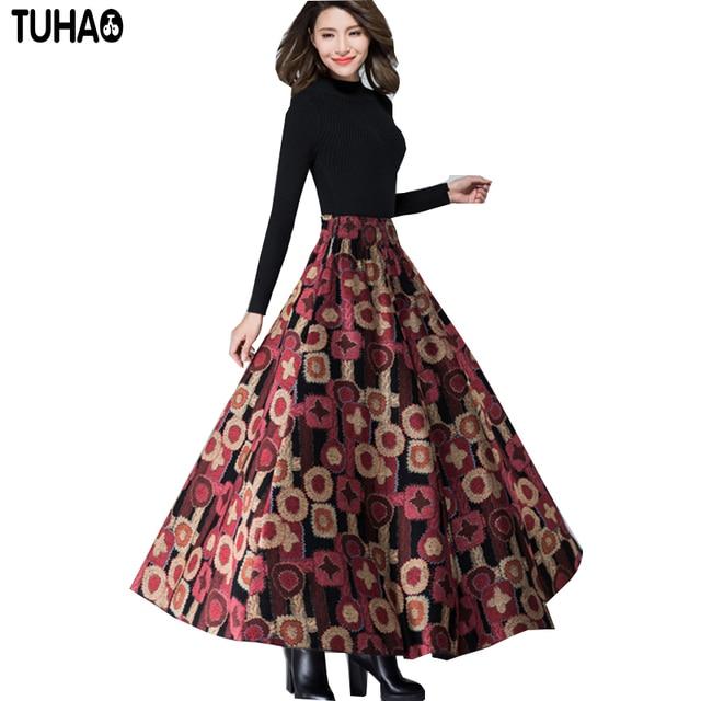 2017 на осень-зиму юбка с завышенной талией печати длинные шерстяные юбки женские макси зимние теплые винтажные линии Faldas Jupe Longue AC04