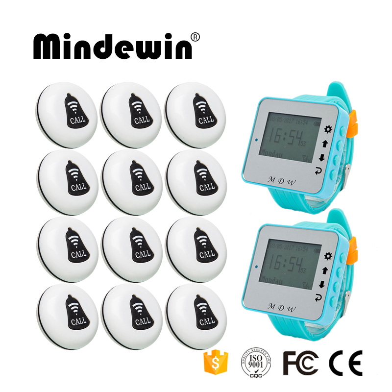 Mindewin Wireless Waiter Service Calling System Restaurant Pager 2PCS Receive Watch Pager M-W-1 + 12PCS Table Call Button M-K-1 wireless bell button for table service and pager display receiver showing call number for simple queue wireless call system