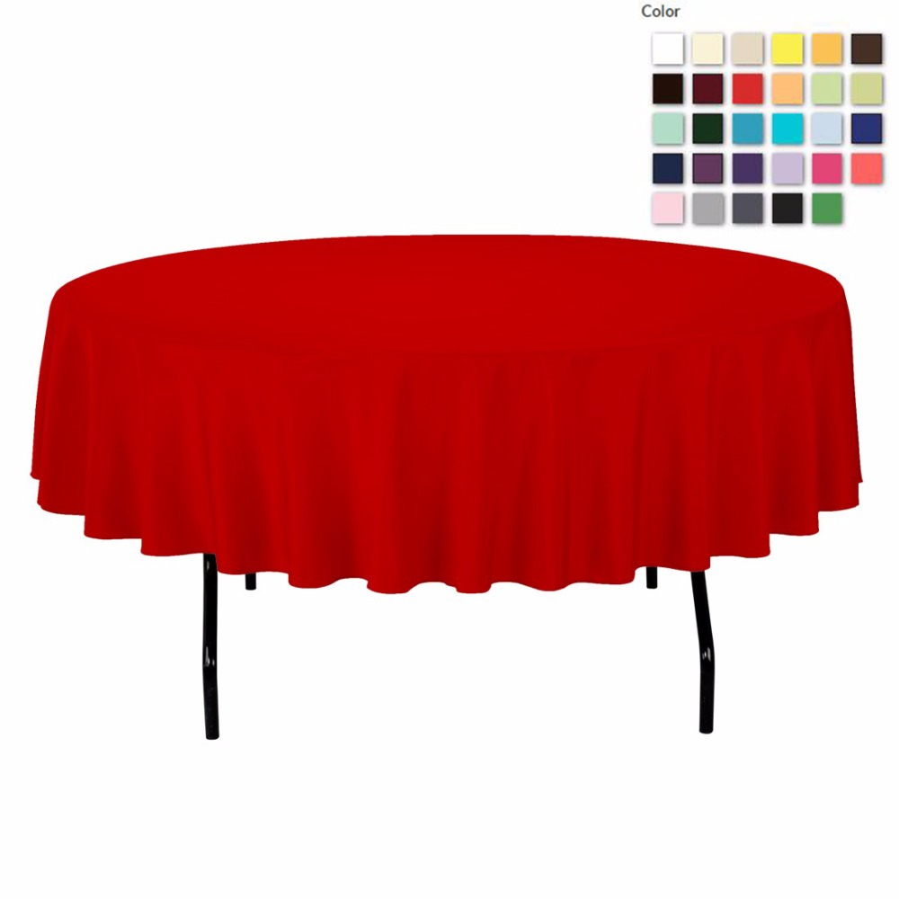 HK DHL Stain Feel 90 inch/230cm Polyester Round Polyester Pink Tablecloth for Wedding Event Banquet Party, 5/Pack