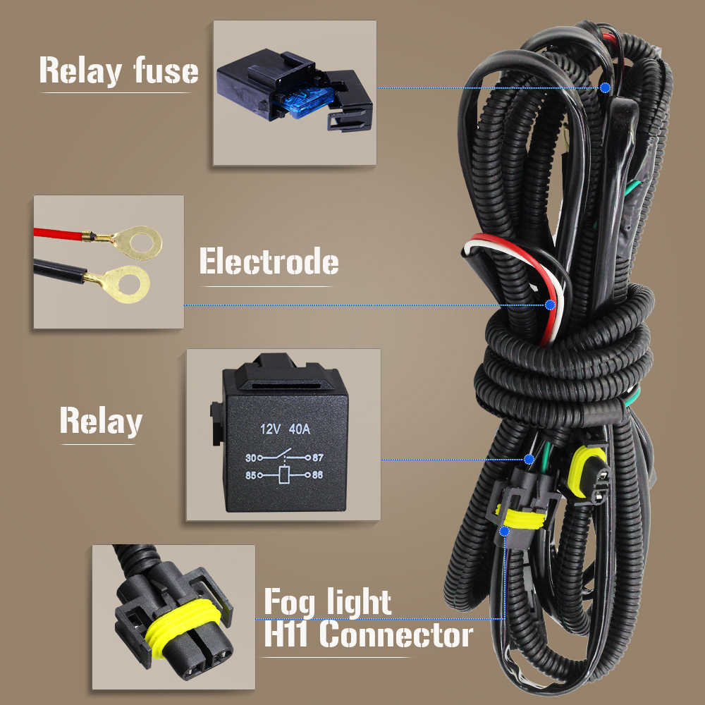 hight resolution of  buildreamen2 car fog light h11 wiring harness fuse relay cable switch kit for porsche opel subaru