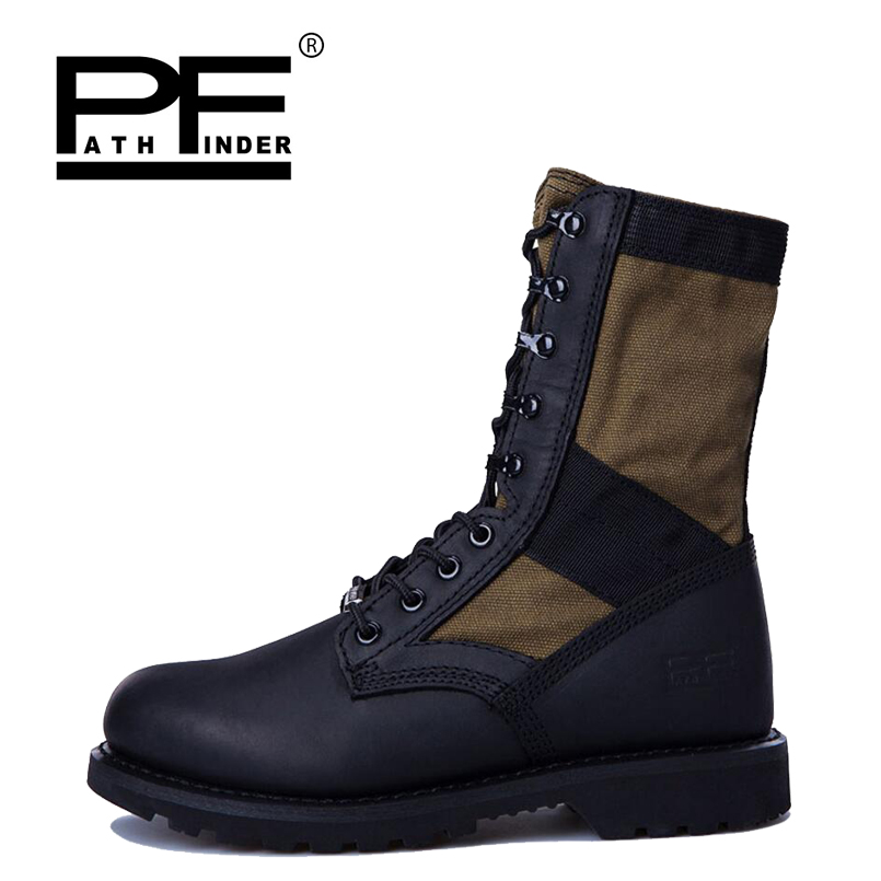 Pathfinder Men Military Tactical Boots Men's Outdoor High-top Hunting 3A quality Western Desert Army Wear non-slip Combat Shoes aa shield camo tactical scarf outdoor military neckerchief forest hunting army kaffiyeh scarf light weight shemagh desert dig