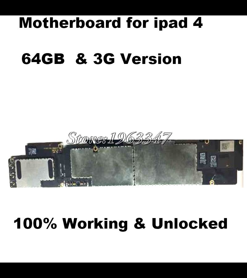 64GB 100% Match With Original motherboard For Ipad 4 Official 3G Versionn Unlocked Mainboard IOS with full chips Logic Board