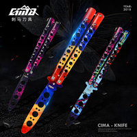 Generation II Butterfly Knife With Spring Latch All Stainless Steel Balisong Trainer Unsharpened Knife For CS