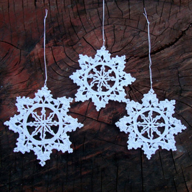 White Silver Ornament Silvers: 12 Crochet Snowflakes , Christmas Snowflake Ornaments