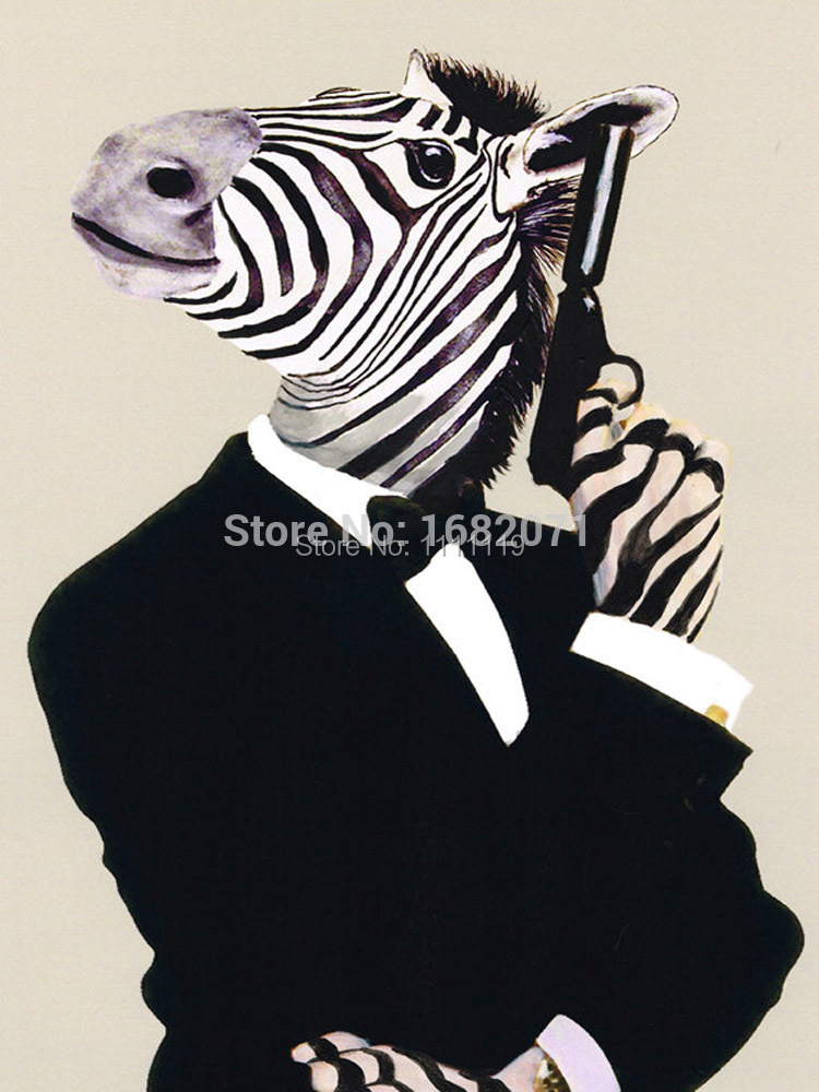 New Animals Zebra Picture Hand Painted Gun Horse Painting Home Decor Craft Modern Pictures On Canvas Wall Oil Paintings